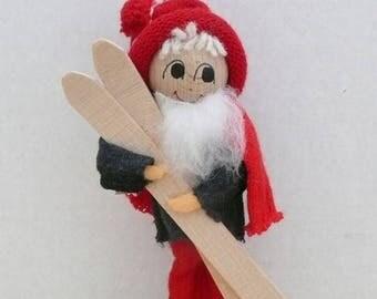 Tolderlund Design, Handmade Tomte Nisse with Skis, Handcarved Santa, Elf, Handmade in Denmark, Souvenir of Denmark