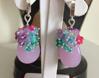 Ashira SUMMER FUN Deep Violet Jade Gemstone Cluster Earrings Amethyst Jade Quartz Gemstones