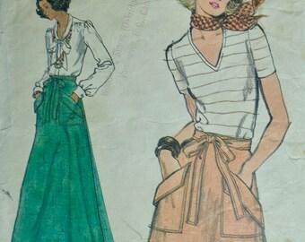 70s Back Wrap A Line Skirt Pattern Waist 26.5 Vogue 9194
