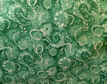 Cotton Fabric, 1/4 Yard, Green and White Paisley, Paintbrush Studio, Quilt, Quilting, Pillow, Home Decor, Crafts, Sewing, Gift, Easter