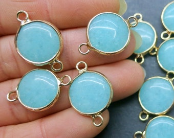 Aqua blue Jade 15mm round connector beads with gold plating wrapped- Double Bail- #6