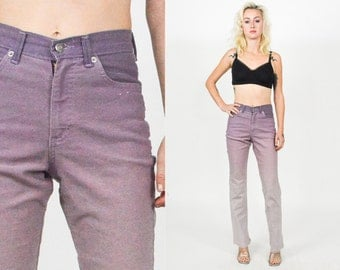 90's PURPLE OMBRE Denim High Waist Flare Jean. Vintage 90's Lavender Jeans. Sparkly Denim. Size Small Medium Waist 25 Leg 31
