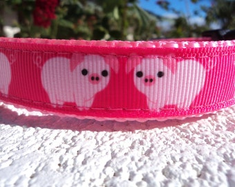 """Dog Collar 3/4"""" or 1"""" wide Side Release buckle Baby Pink Piggy - upgrade to martingale style"""