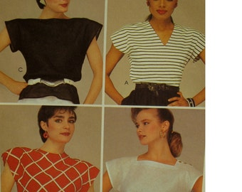 "Cap Sleeve Blouse Pattern, Loose Fitting, Jewel/Square Neck/V-neck, Easy, McCalls No. 8588 UNCUT Size Medium (14-16) (Bust 36-38"" 92-97cm)"