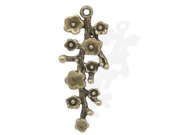 1 Antique Bronze Plum Blossom Charm Pendant 42mm Long