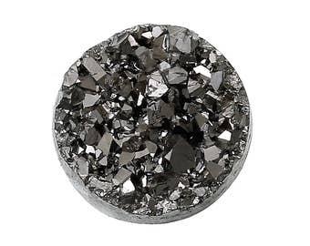 6 Druzy Quartz Silver Grey On Black Cabochon 12mm