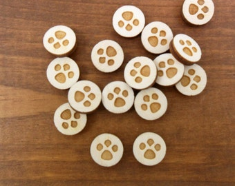 "Wood Stud Earring Paw Print Etched Circles 1/2"" (12mm) Unfinished Wood - 20 Pieces"