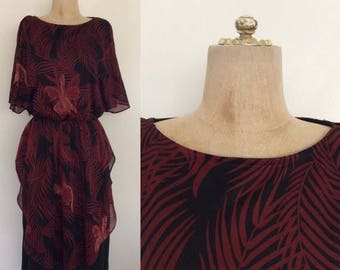 30% OFF 1970's Jungle Fern Tunic Top Polyester Dress Vintage Dress Size Small Medium by by Maeberry Vintage
