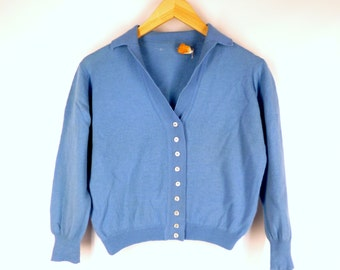 Cropped Pendleton Cardigan Sweater, Light Blue, Vintage 1960s Womens Extra Small - Small