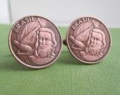 Brazil Coin Cuff Links - Brasilian Repurposed Copper Coins