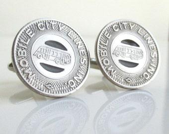 MOBILE, AL Transit Token Cuff Links - Repurposed Vintage Silver Tone Coins