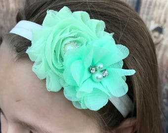 Mint green flower girl headband, mint girls headband, green headband, toddler headband, infant headband
