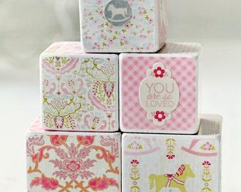 decorative wooden blocks baby girl pink, peach