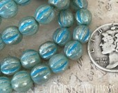 6mm Czech Pressed Glass Picasso Fluted Melon Bead Spacer (25) Bohemian Gypsy Luxe Opal Milky Aqua Blue Mercury Finish - Central Coast Charms