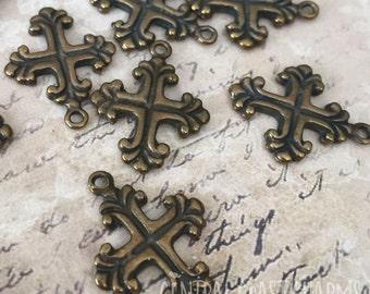 Tiny Cross Charm Pendant - Greek Casting - Antique Bronze Gold (4) Old World Maltese Celtic Fleur De Lis Religious - Central Coast Charms