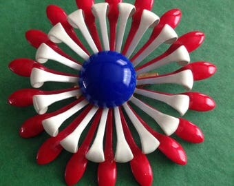 Classic vintage large patriotic red white and blue flower brooch