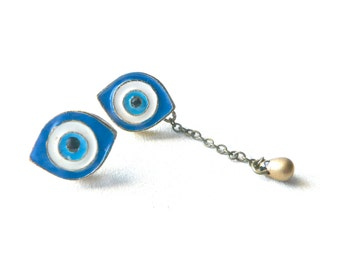 Evil eye earrings protection ( blue and white, magic, curse ) 03