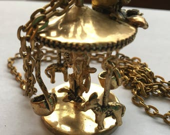 Vintage Carousel Pendant Necklace