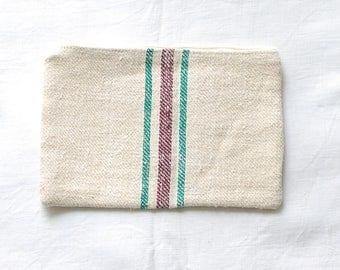 VINTAGE Grainsack Zippered Pouch - Green + Dark Plum Stripes