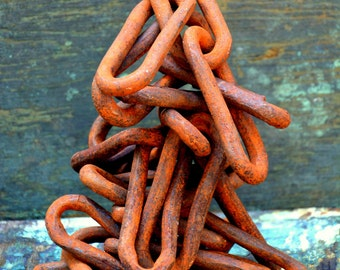 """Rustic Industrial Oblong Forged Chainlink: 8FT of Large 5"""" Rusty Iron Chain Links -- Barn, Farmhouse, Logging, Ship Anchor, Dock, Equestrian"""