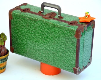 Vintage Green Hardside Overnight Suitcase / Travel Luggage / Rustic Doll Trunk: Psychedelic Valise, Attache, Briefcase, Toy Storage Box