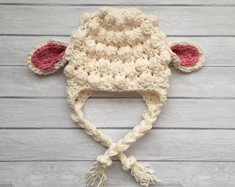 Crochet lamb hat, lamb baby shower, newborn photo prop, baby lamb hat, infant lamb hat, Easter hat, lamb nursery, baby animal hat, sheep hat