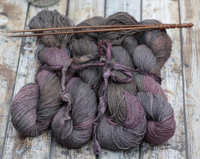 hand dyed yarn, angora merino tencel cashmere lace yarn Thisbe - Grapeskins