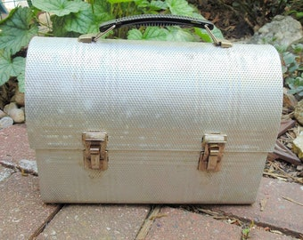 Domed Lunch Box. Metal Lunch Box. Silver Lunch Box, Craft Organizer. vintage. Industrial. Mid Century. storage box. vintage 1960s. metal box