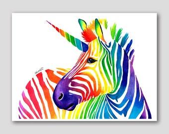 18x24 inch Pop Art Poster - Zebracorn - Hand Signed Fine Art Print - Pretty Colorful Rainbow Zebra Unicorn