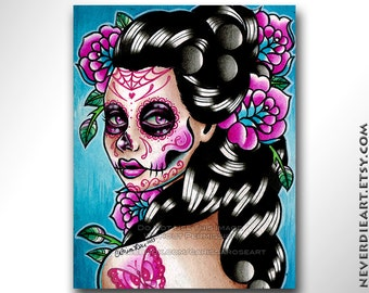 Sugar Skull Girl Signed Limited Edition Art Print - Vanessa - Day of the Dead Tattoo Illustration Flash - 16 of 25 - 8x10 in