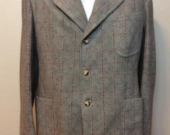 Vintage RARE 1960s Diamond Pattern Shetland Tweed Wool Custom Made Jacket Very High Quality Size 42