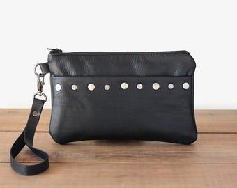 Black Leather Clutch with Rivets - Leather Wristlet Wallet - Small Handbag - Smartphone Wristlet Wallet - Wristlet Clutch - Minimalist Bag