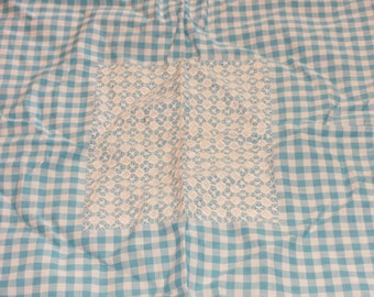 Vintage Blue Gingham Check Table Cloth