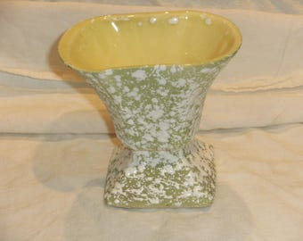 Vintage Yellow and Green Spatterware Vase