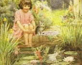 Charming Scene of Girl and Kitten Watching Fairies at the Water Lily Pond Vintage Margaret Tarrant Medici Society Postcard