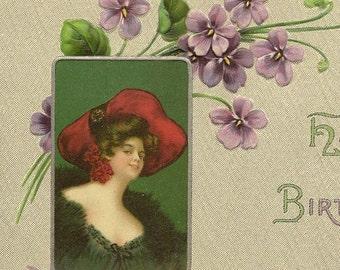 Unused Vintage Birthday Postcard Elegant Lady in Red Hat and Purple Violets