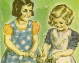 Little Girls Doing Laundry Unused Vintage Postcard  - Cute Frameable Image Artist Signed George