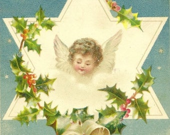 Heavenly Angel in Star Holly Garland and Golden Bells Antique Christmas Postcard 1902 Cork Cancel
