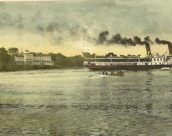 Antique Postcard 1907 Queen's Royal Hotel Niagara-on-the-Lake Closed PO Cancel – Great Steamer Corona on the Lake