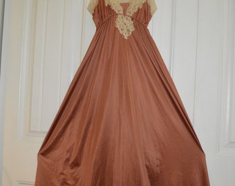 Vintage Kayser Full length nightgown, Rust Brown with Beige Lace, Petite Size, Nylon