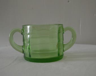 Vintage Green Depression Glass Sugar Bowl without Lid