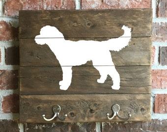 Goldendoodle, Reclaimed Wood, leash holder, Goldendoodle Sign, Goldendoodle Art, Wood Goldendoodle, Dog Key Holder,