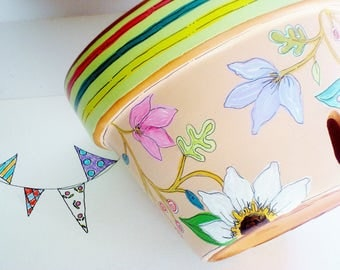 """Orchid Planter, Hand Painted Terra Cotta Pot 6.5 Inch """"Meadow""""-  Ready to Ship"""