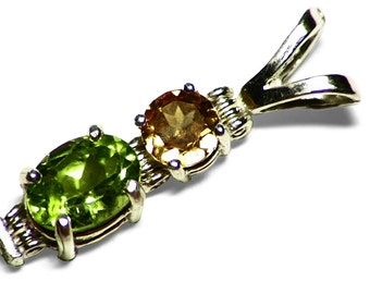 Peridot Jewelry, Green Peridot Necklace, Rare Natural Golden Zircon, Faceted Peridot Pendant in Sterling Silver, Peridot Gift For Women Gift