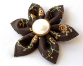 Unique Brown Fabric Hair Flower with Green and Yellow Earthy Kanzashi