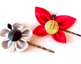 Tsumami Kanzashi Satin Butterfly and Flower Hair Pins Wearable Fiber Art Nature Inspired Fabric Accessories