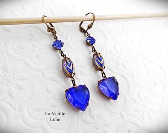 Blue Heart Jewel Earrings, Sapphire Blue Victorian Earrings, Vintage Glass Jewel Victorian Jewelry