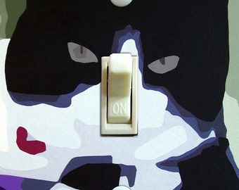TUXEDO CAT Switch Plate (single or double)  - - FREE Shipping - -
