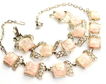 Vintage CORO Peachy-Pink Confetti Thermoset Bracelet and Necklace Demi