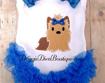 Dog T Shirt, Yorkie Embroidery Applique Dog Shirt, XS, Small, Medium, with or without bows or ruffles